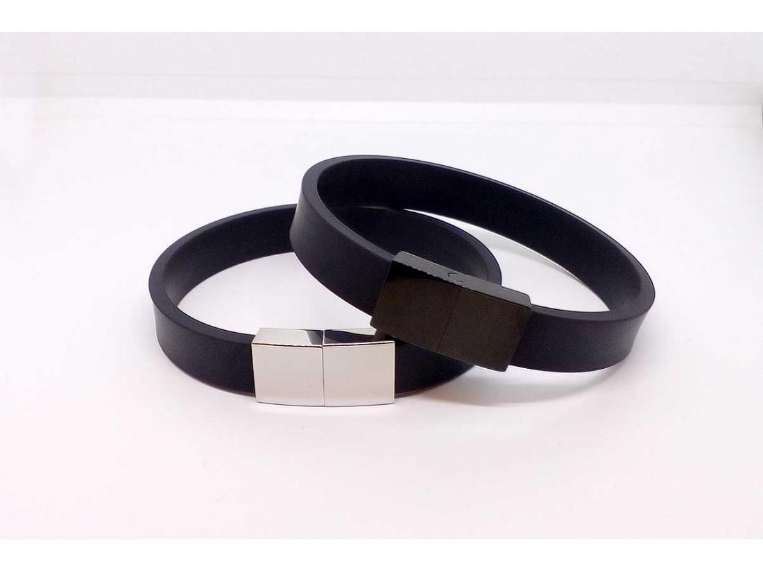 Βραχιόλι με καουτσούκ Περίμετρος καρπού 10 εκ Χρώμα κουμπώματος Ατσάλι μαύρο fe062b658b8